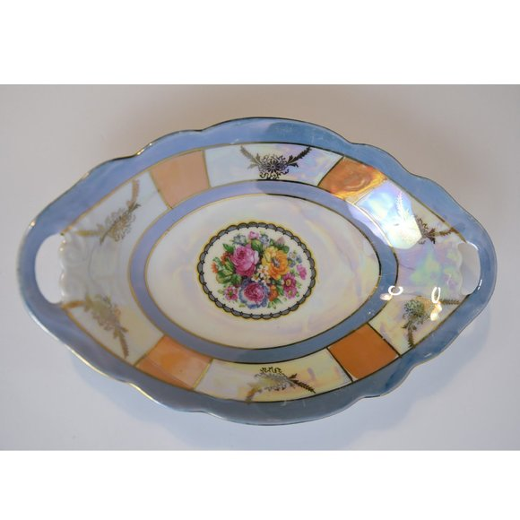 Lusterware vintage oval bol with handles